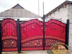 Кованые ворота с калиткой лоза - филенка -греческий