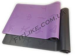 Коврик каучуковый, йога мат 184/68/5 мм для йоги, фитнеса, растяжки