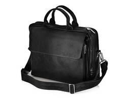 Кожаная сумка на плечо для ноутбука и документов черная. ..