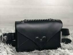 Кожаная женская сумка-клатч Leya с черного цвета с черным. ..