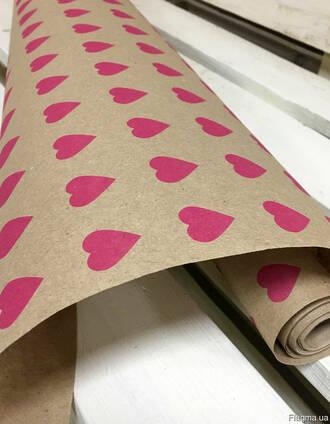 """Крафт бумага """"Сердце К"""", 70 см. 10 м. 70 грам/м2."""