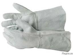 Краги сварочные кожаные пятипалые спилковые рабочие перчатки