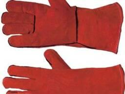Перчатки кожаные из спилка на подкладке, для сварщиков