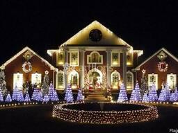 Красиво украсить дом гирляндами, услуги новогоднего оформлен