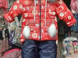 Красивый зимний комбинезон на девочку 92-110р
