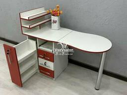 Красный стол для мастера маникюра. Модель V463