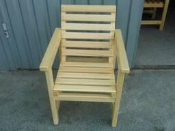 Кресла из натурального дерева. Одинарное и парное со столом. - фото 2