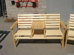 Кресла из натурального дерева. Одинарное и парное со столом. - фото 3