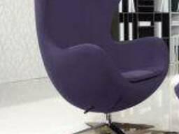 Кресло Эгг (Egg), ткань, основание металл, цвет фиолетовый