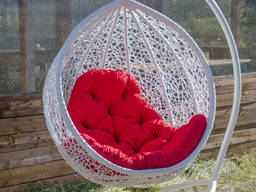 Кресло-кокон подвесное- Веста . Качели из ротанга для дома и сада. Кресло качалка круглая.