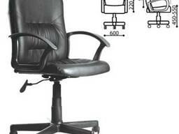 Кресло оператораЧип с подлокотниками, кожзам, черное, ш/к
