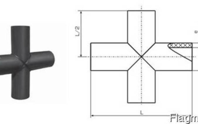 Крестовина ПЭ сегментная D 63 мм. Крестовина ПНД