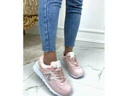 Кроссовки нежно розовые замшевые