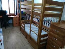 Кровать 2-х ярусная (2000х800 мм) натуральный дуб.