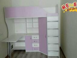 Кровать-чердак с рабочей зоной и угловым шкафом (к10-3). . .
