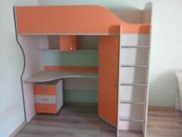 Кровать-чердак с рабочей зоной и угловым шкафом (к11-3). . .