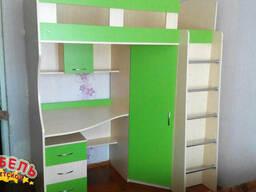 Кровать-чердак с рабочей зоной и угловым шкафом (к11-4). . .