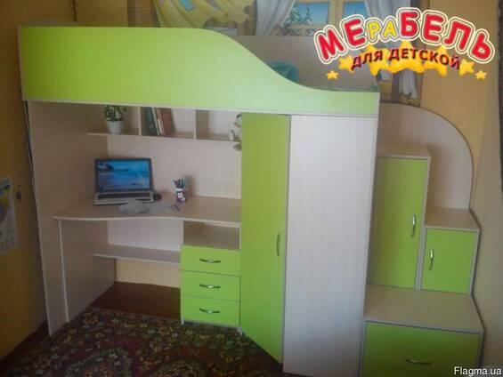 Кровать-чердак с рабочей зоной, угловым шкафом и лестницей-т