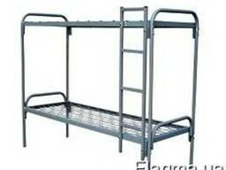 Кровать двухъярусная металлическая с быльцами и лесницей