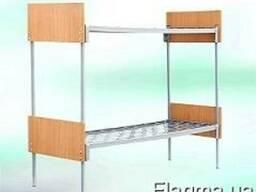 Кровать металлическая двухъярусная с деревяннымиспинками