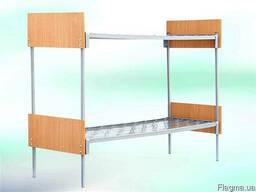 Кровать металлическая двухъярусная с быльцами ОДСП