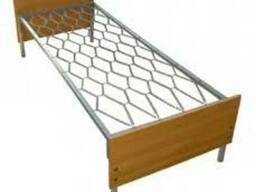 Кровать металлическая с деревянными спинками 190\70