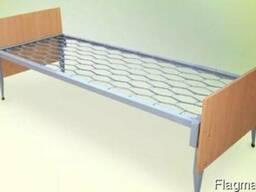 Кровать металлическая со спинкой с ДСП