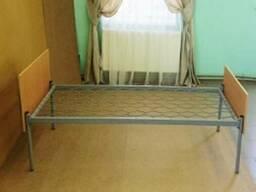 Кровать одноярусная металлическая спинка ДСП (на уголке)
