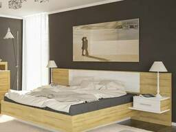 Кровать + тумбы Фиеста дуб золотой Мебель-сервис