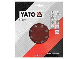 Круг шліфувальний з наждачного паперу з липучкою YATO 180 мм Р180 до YT-82341 3 шт