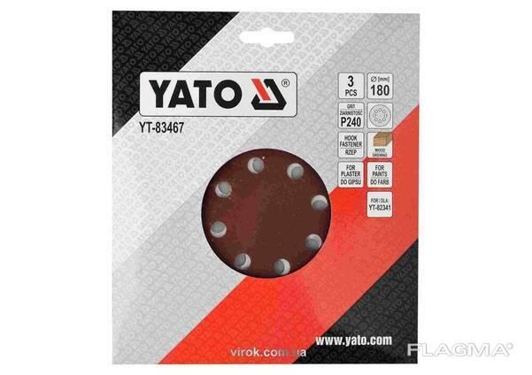 Круг шліфувальний з наждачного паперу з липучкою YATO 180 мм Р240 до YT-82341 3 шт