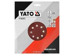 Круг шліфувальний з наждачного паперу з липучкою YATO 225 мм Р100 до YT-82340 і. ..