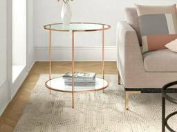 Круглый столик из металла и стекла коленного