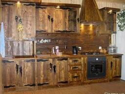 Кухня из натурального дерева под старину КГ-4 Под заказ