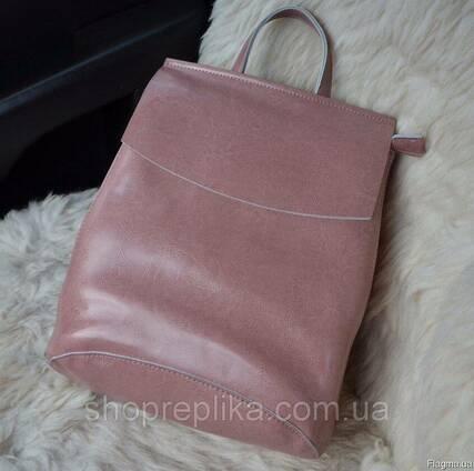 Купить кожаный рюкзак трансформер в украине в розовом цвете