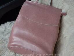 Купить кожаный рюкзак трансформер в украине в розовом цвете - фото 1