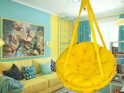 Купити крісло гамак до стелі жовтого кольору