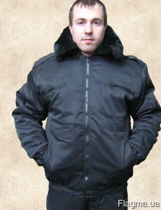 """Куртка """"Пилот"""" зимняя, с меховым воротником, черная, мужская"""