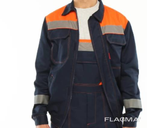 Куртка рабочая сине-оранжевого цвета.