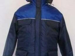 Куртка рабочая утепленная с кап-ном синяя с вас-ой кокеткой