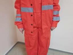 Куртка с полукомбинезоном оранжевая с свп, с лого, под заказ