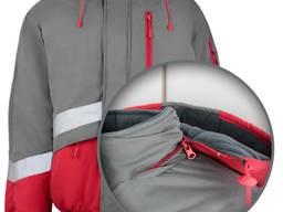 Куртка утепленная рабочая серо-красная, утепленная спецодежда