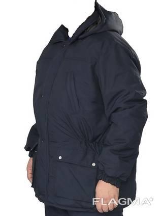 Куртка утеплённая модельная плащевка т-синяя