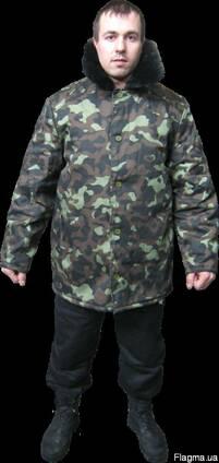 Куртка ватная, мех. ворот, саржа, камуфлированная