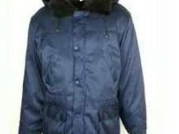 Куртка зимняя с капюшоном, меховым воротом, синяя, рабочая