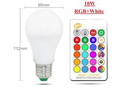 Лампа 10W RGB E27 светодиодная цветная с пультом лампочка