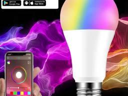 Лампа 15W Е27 RGB LED светодиодная мульти цветная с управлением со смартфона по bluetooth