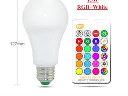 Лампа 15W RGB E27 светодиодная цветная с пультом лампочка