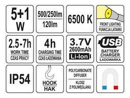 Лампа світлодіодна акумуляторна YATO Li-Ion 3.7 В 5+1 Вт 500+250 лм / 120 лм