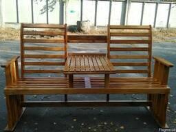 Лавка скамейка уличная деревянная с откидным столиком